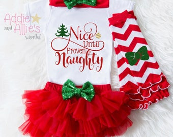Nice Until Proven Naughty, First Christmas Outfit Girl, Baby Christmas Tutu, My First Christmas, Baby First Christmas Outfit, Gift X8RG