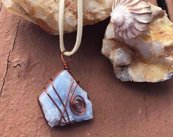 Blue calcite wire wrapped pendant
