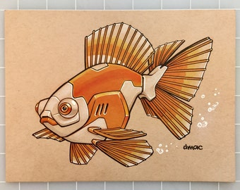 "Goldfish Robot 6"" x 8"" Original Pen, Coloured Pencil and Marker Art"