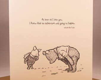 Winnie the Pooh Birthday Anniversary Card - Girlfriend wife husband boyfriend sentiment