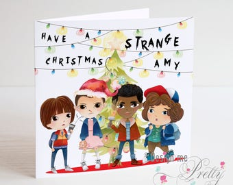 STRANGER THINGS Personalised Christmas Card - son Daughter Eleven