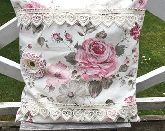 Boho Romantic floral Cushion cover lace  pillowcase cottage chic embellished cushion cover vintage fabric roses handmade