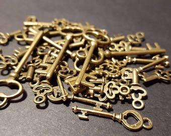 35 Vintage Antiqued Bronze Keys