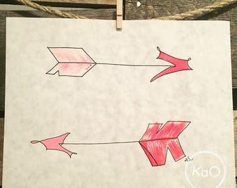 Acrylic painting on parchment paper - arrows illustration roses
