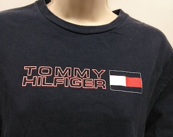 Tommy Hilfiger spellout T-shirt men's size small flag logo