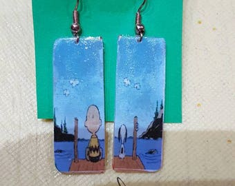 Earrings snoopy and charlie brown