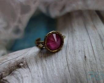 Pink Peony Swarovski Crystal Ring