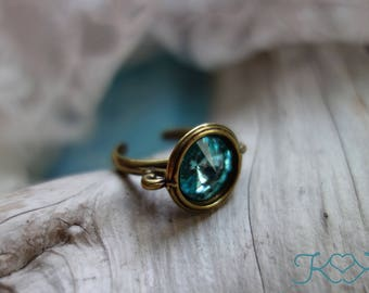 Teal Swarovski Crystal Ring