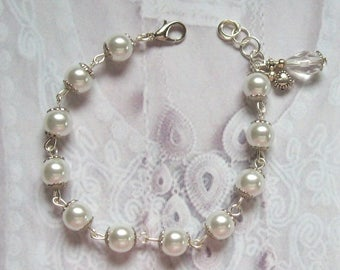 Romantic bracelet silver metal, glass pearls