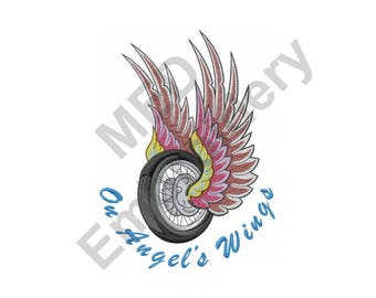 Tire With Wings - Machine Embroidery Design, On Angels Wings