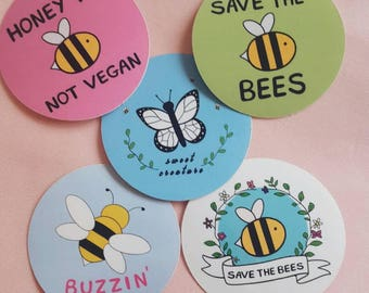 Bee Stickers - Set of 5 - Vegan Stickers, Bee Sticker, Save the Bees, Vegan Accessories, Cute Stickers, Cruelty Free, Laptop Stickers