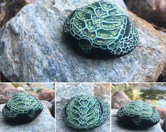 Hand painted turtle rock