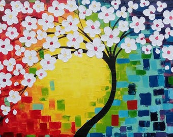 Abstract White Blossom Tree Acrylic on Canvas