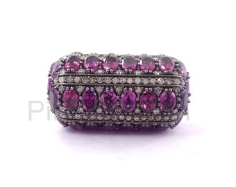 925 Sterling Silver Pave Diamond Gemstone Ruby Ball Bead Finding Jewelry, Ruby Beads Ball Finding