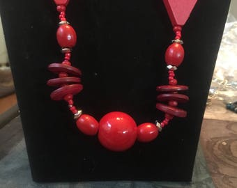 Red and silver beaded necklace and earrings