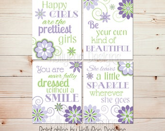 Girls room decor Girl quotes Inspirational wall quotes Printable wall decor Printable art prints Purple green nursery art Digital prints