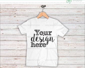 T- Shirt Mockup, Shirt , Wood Background, Mockup, Digital Background, Custom Design Background, White Shirt, Styled Photo, Mock Up