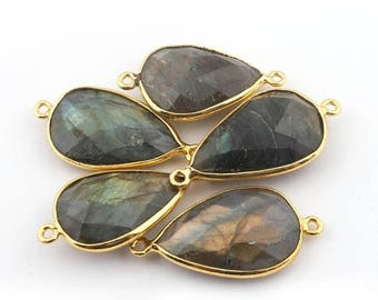 50% off 5 Pcs 24K Gold Plated Flashy Labradorite Gemstone Faceted Pear Drop Shape Double Bail Connector 28mmx15mm-31mmx16mm PC025
