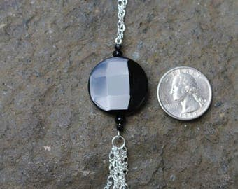 Long Black Glass Necklace with Chain Fringe