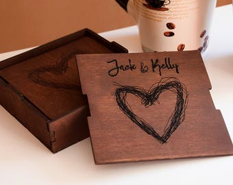 Personalized coaster set Custom wood coaster set Engraved coasters Love with heart initial coaster set Wood engraved coaster set