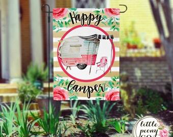 Personalized Garden Flag - Happy Camper Vintage RV Camper Custom Yard Flag