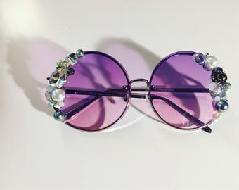 Silver and Purple Accented Sunglasses
