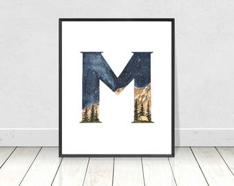 Nursery Monogram Watercolor Alphabet Art Print- Letter M Camping Landscape Boy's Room Wall Art- Alphabet Letters Nursery Room Decor