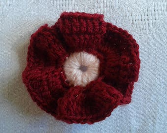 applied crochet Burgundy flower