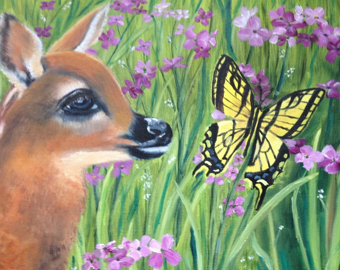 11x14x3 Bambi Oil Painting Gallery Wrapped Unframed, Deer Painting with Butterfly and Flowers, Wildlife Oil Painting, Animal Oil Painting