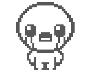 "Binding of Isaac Pixel Decal 5"" in silver"
