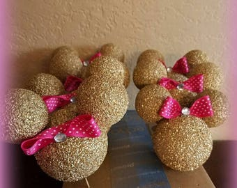 Glitter Gold Ball minie mouse INSPIRED heads