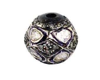Victorian style Rose cut Pave diamond large polki diamond 10mm bead Ball jewelry making / jewelry finding/ bracelets and necklace - PJBE2047