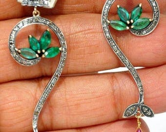 Designer Antique finish 2.70cts pave Diamond ruby emerald Sterling Silver Earrings