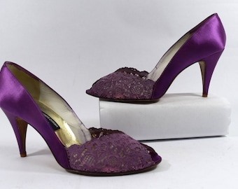 Stuart Weitzman for Martinique Vintage 80s Purple Satin/Lace Peep Toe Heels Size 10B