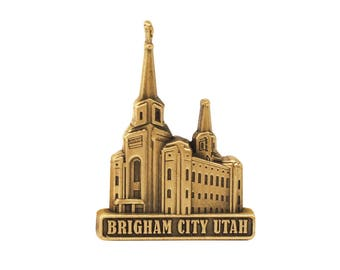 Brigham City Utah Temple Gold Pin - LDS Gifts