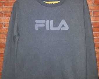 Rare!!!FILA Sweatshirt Big Logo Spell out Pullover size (L)