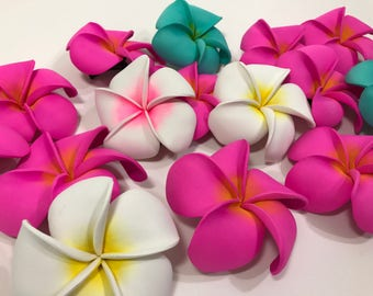 Moana Inspired Flower Hair Clip - Multi Colored  Plumeria Clips - Great Birthday Party Favors - Accessories Supplies Hawaiian Luau Tropical
