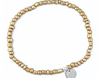 Ankle Strap Elastic Beaded Ibiza-Bronze, Gold