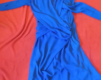 Vintage Blue Dress Kaihy J Made in USA Size 14 100% Polyester