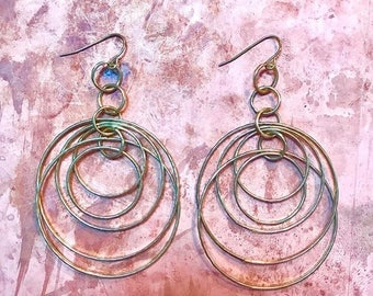 Gold multi hoops earrings