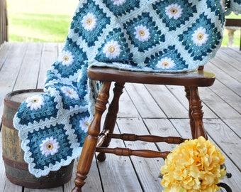 Crochet Daisy Afghan Throw Teal Yellow