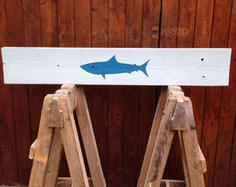 Hand painted blue shark on reclaimed scaffold board baby blue.