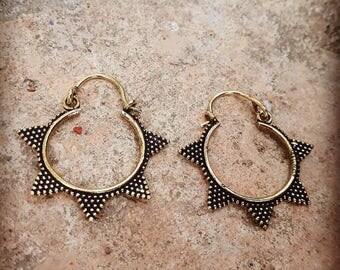 Gypsy spike earrings, tribal earrings, ethnic earrings