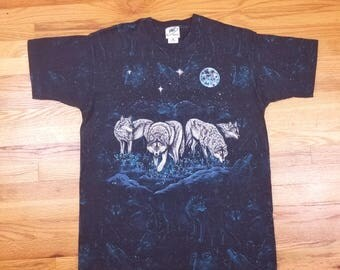 Vintage 90s Wolf All Over Print Stars Constellations Moon Size XL