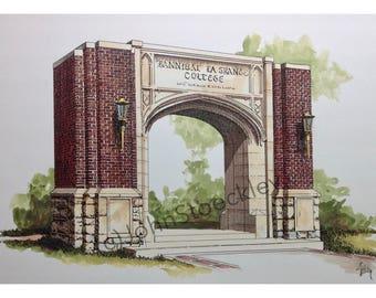 Hannibal-LaGrange University LIMITED EDITION Pen and Ink and Watercolor Art Print Illustration - Graduation Gift, Alumni