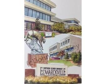 Southern Illinois University Edwardsville LIMITED EDITION Pen and Ink and Watercolor Art Print Illustration - Graduation Gift, university