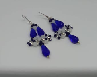 Blue Cobalt and white earrings