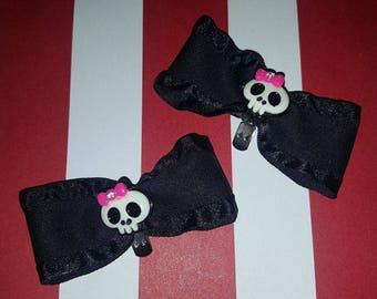 Skull satin bow shoe clips pin-up rockabilly