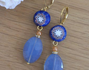 Earrings pearls glass