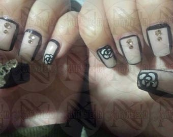 Blk/white contrast of the latest edgy nails with touch of feminine 3D nail art , rhinestones aswell as hand painted outline rose